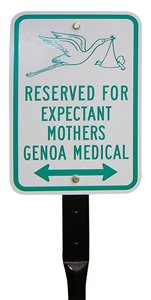 Expectant Mothers Parking Sign With Funny Stork