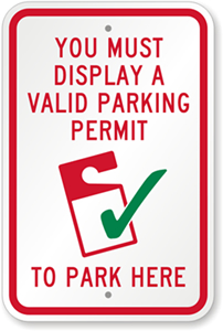 Permit Parking Sign with Check Graphic