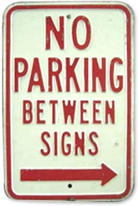 Porcelain No Parking Sign Classic