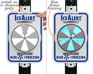 Ice alert signs