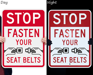 Reflective seat belt sign