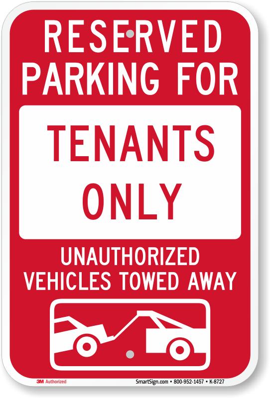 Tenant Parking Signs - Free Shipping from MyParkingSign