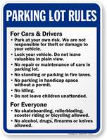 Parking Lot Rules Sign For Cars Drivers And Everyone