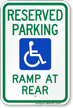 Accessible Ramp At Rear Parking Sign