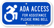 For Assistance Ring Bell, Updated ADA Access Sign