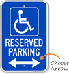 Michigan Reserved Handicapped Parking Sign, Left Arrow