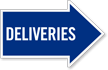 Deliveries, Right Die-Cut Directional Sign