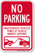 No Parking, Unauthorized Vehicles Towed Away Sign