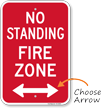 No Standing, Fire Zone Sign, Bidirectional Arrow