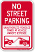 No Street Parking, Unauthorized Vehicles Towed Sign