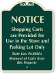 Shopping Carts For Use In Parking Lot Sign
