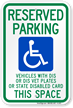 Reserved Parking Disable Vet Plates Sign