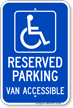 Michigan Reserved Parking, Van Accessible Sign