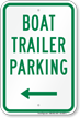 Boat Trailer Parking Sign with Left Arrow Symbol