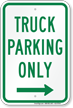 Truck Parking Only At Right Parking Sign