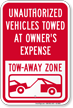 Unauthorized Vehicles Towed At Owner Expense Sign