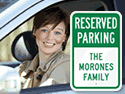 Show restricted parking spaces with Reserved Parking Signs.