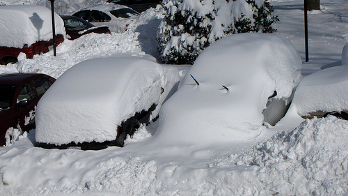 cars buried in snowdrifts