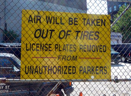 air out no parking sign