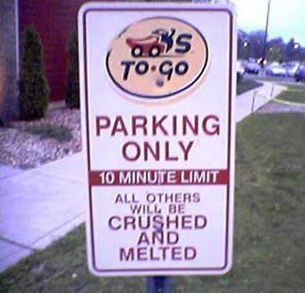 crushed melted parking sign