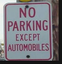 except automobiles parking sign