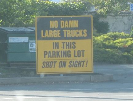 funny no trucks parking sign