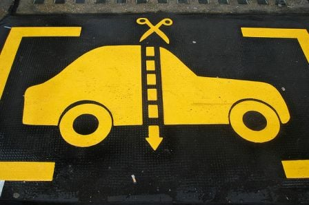 funny parking floor sign