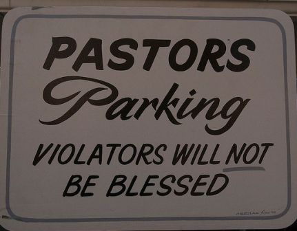 funny pastor parking only sign