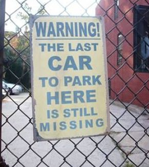 Last car funny parking sign