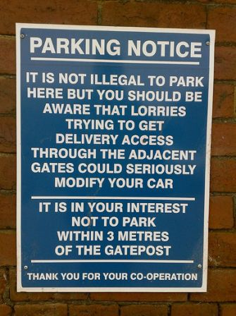lorry funny parking sign