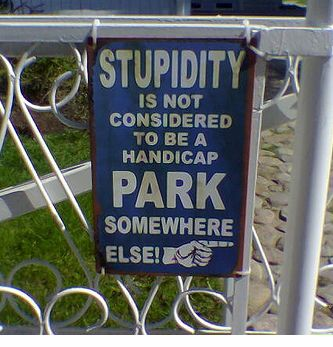 stupidity no parking sign