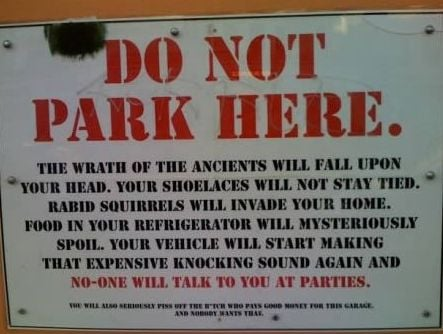 Wrath of ancients parking sign