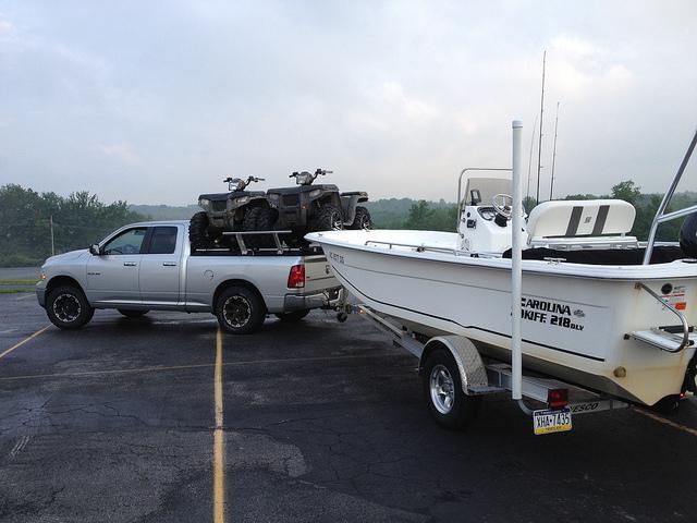 boat trailer in parking lot