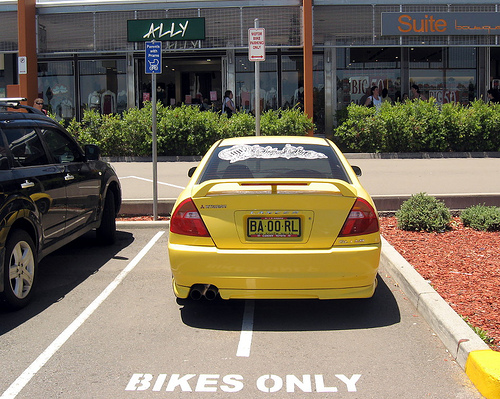 Car parked in bikes only spot