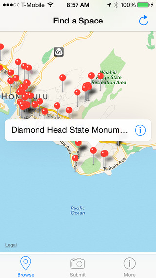 DPark app map of Hawai'i