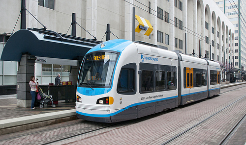 Streetcar at Akard Place in Dallas.