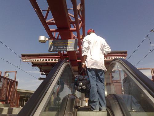 Man on escalator near LAX