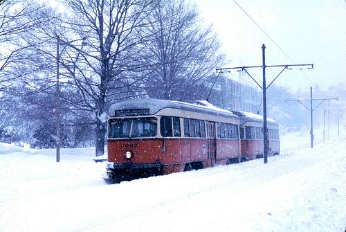 MBTA in the snow