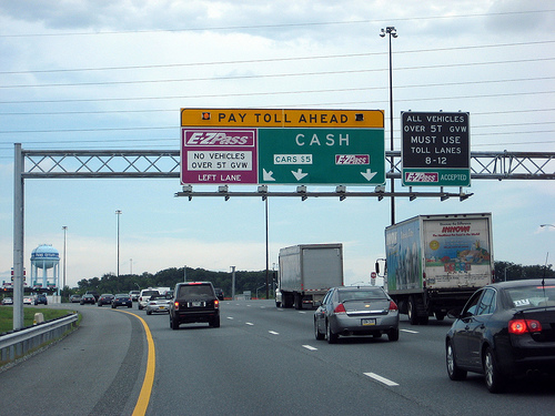 Maryland toll road ahead sign