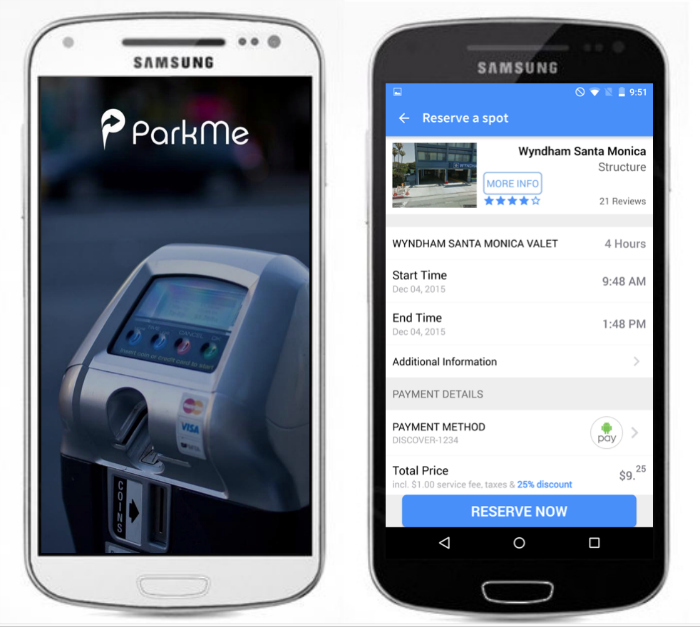 ParkMe is the most recent major parking app to use Android Pay to process mobile payments. Image from ParkMe.
