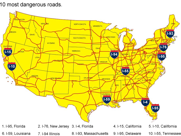 The Most Dangerous Roads In America MyParkingSigncom Blog - Us map with roads