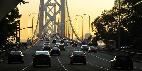 Traffic on the Golden Gate bridge at dusk