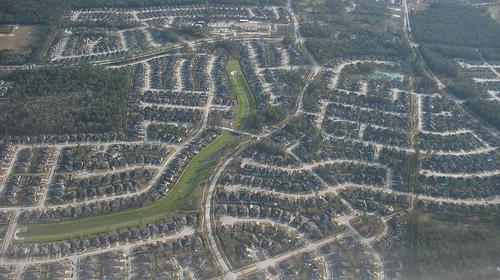 Suburban sprawl seen from the air
