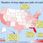 Which states have the most stop signs per mile of road?