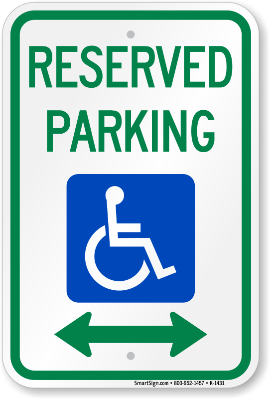 South Carolina ADA parking sign with double arrow