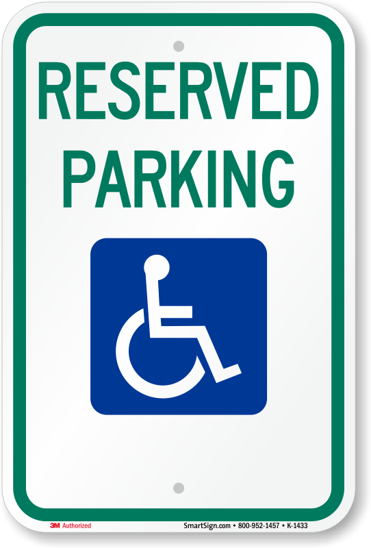 Iowa ADA parking sign with reserved parking text