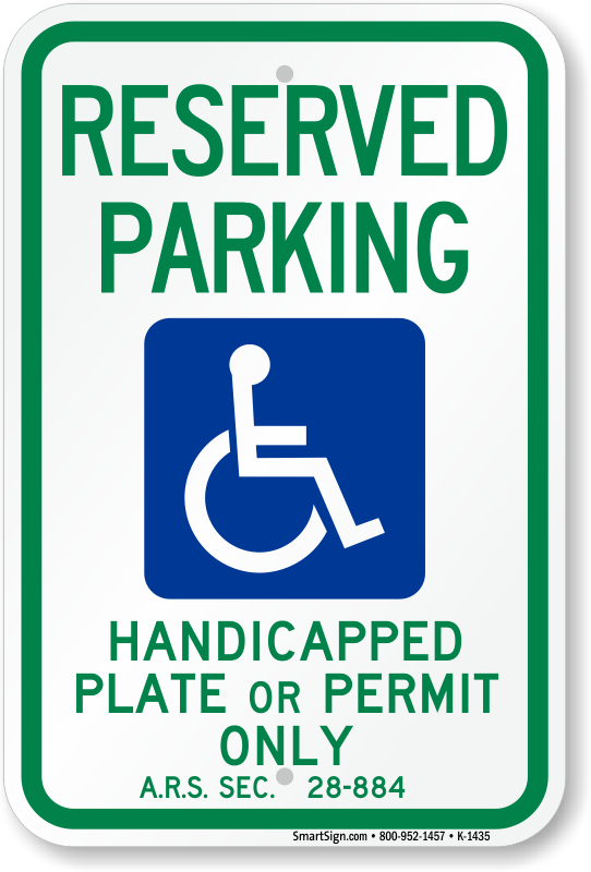 Arizona ADA parking sign with handicapped plate or permit only text.