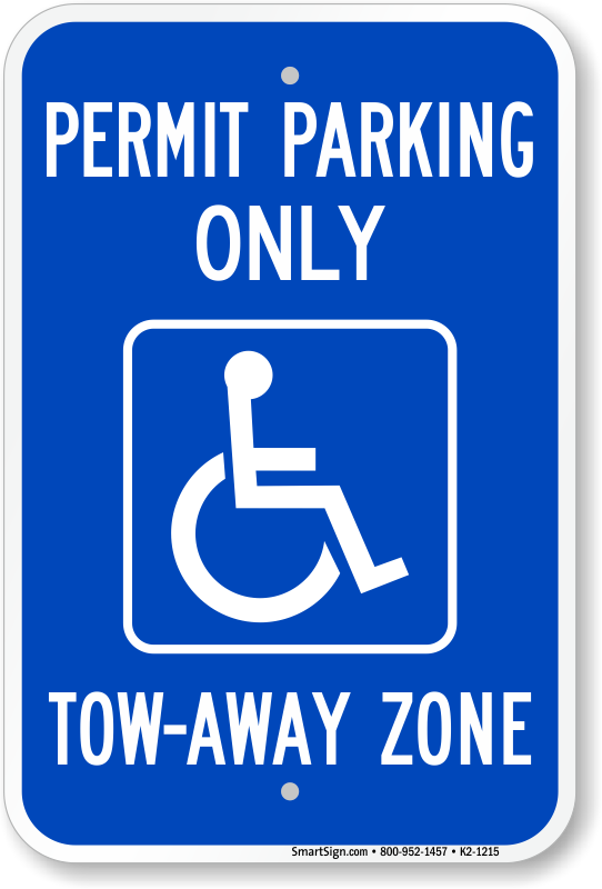 Georgia ADA parking sign with permit parking only and tow-away zone text