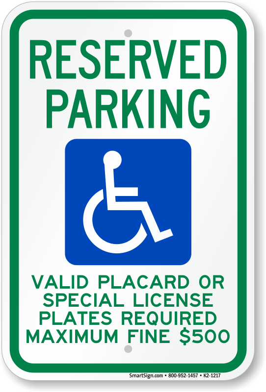 Hawaii ADA parking sign with valid placard or special license plates required text