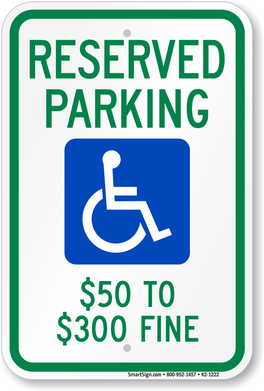Missouri ADA parking sign with $50 to $300 fine text